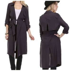 Jackets & Blazers - Flowy soft draped open front trench coat